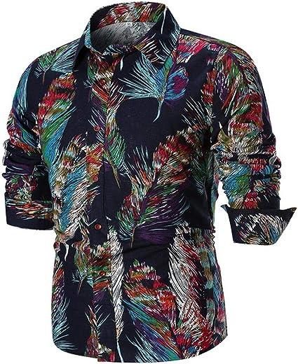 HhGold Camisas para Hombre Top de Manga Larga Slim Fit Casual Rockabilly Floral Patrón Personalizado Botón Algodón Polo Coloreado Blusa XXL XXL XXXXL (Color : Negro, tamaño : Medium): Amazon.es: Hogar