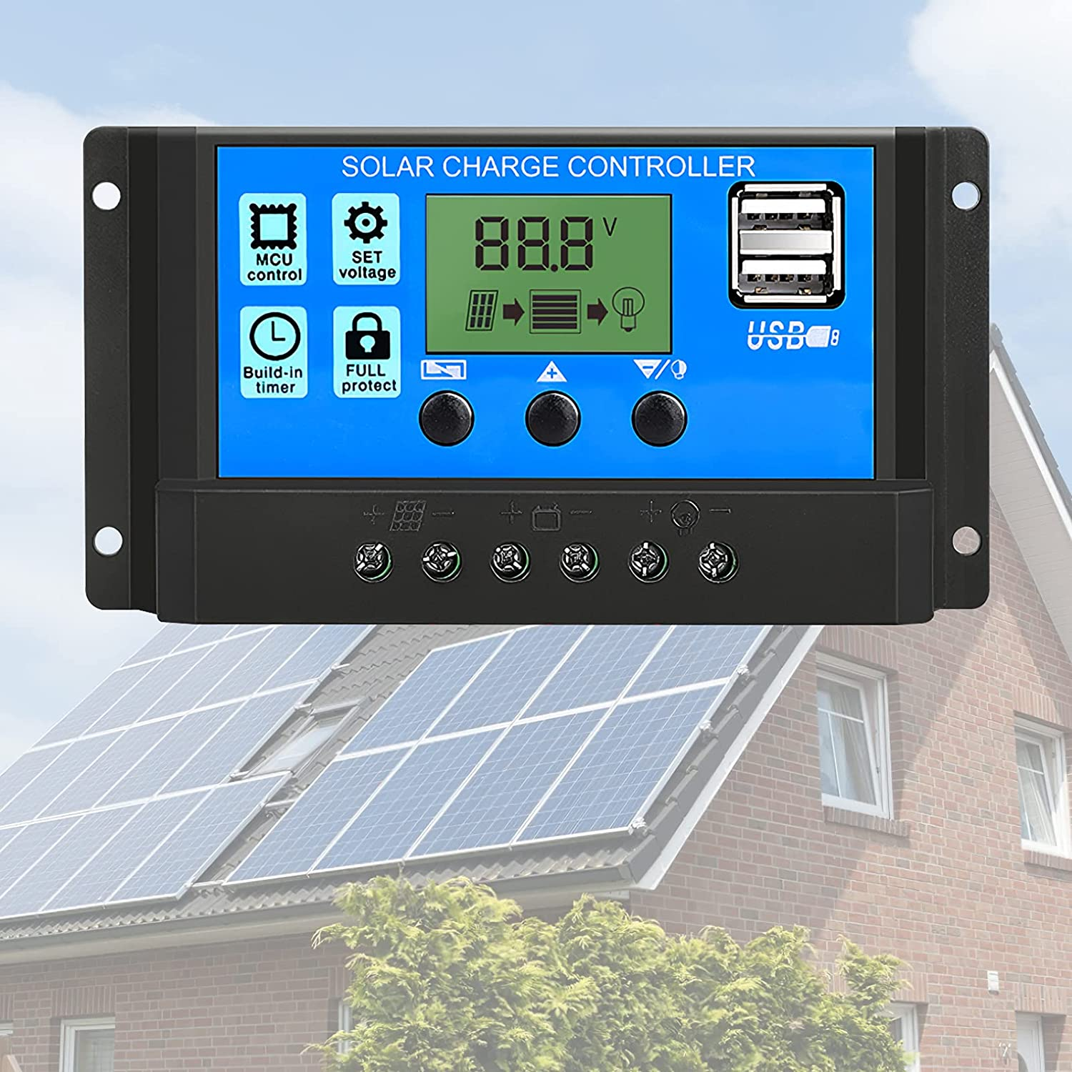 20A Solar Charge Controller ,12V/24V Solar Panel Controller Battery Intelligent Regulator with USB Port Display,Adjustable Parameter Backlight PWM Auto LCD Display and Timer Setting ON/Off Hours