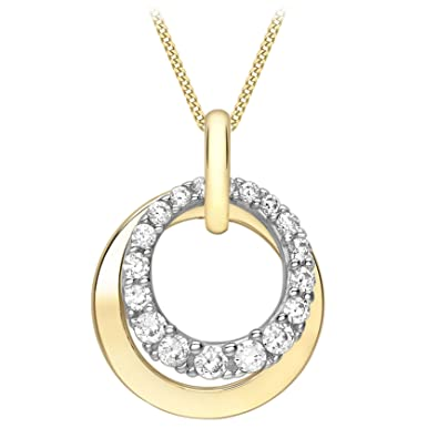 Carissima Gold 9 ct Two Colour Cubic Zirconia Double Circle Pendant on a Curb Chain of Length 46 cm CZOa8Q4O9
