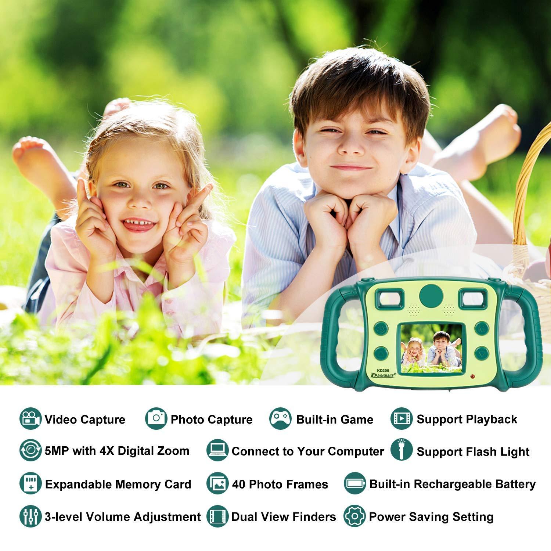 DROGRACE Kids Fotocamera con Zoom 4/x 4-Level Volume e Manici in ABS per Bambine Compleanno Flash Lights