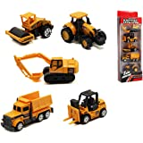Set of 5 Mini Construction Trucks,Excavator,Dump Truck,Bulldozer,Wheel Loader,Forklift- Vehicles Toy Pack