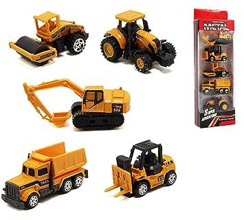YIJIAOYUN Conjunto de 5 Mini Camiones de construcción, Excavadoras, Camiones de volteo, Bulldozers, Cargadoras de Ruedas, Montacargas - Paquete de Juguetes ...