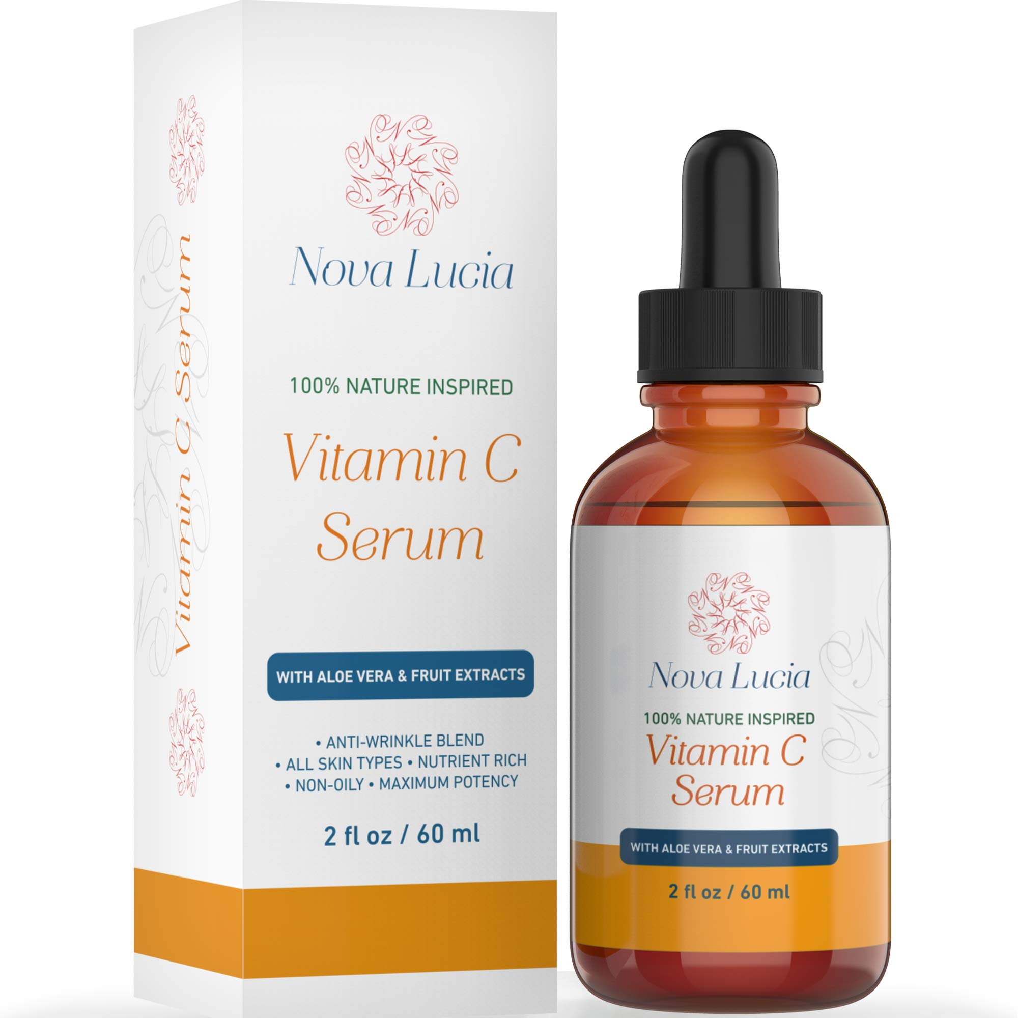 Vitamin C Serum For Face Aloe Vera & Fruit Extracts Acne Spot Treatment Sun Spot Corrector For Face Under Eye Treatment Toner For Face Compare With Under Eye Cream Anti Aging Serum 2 oz