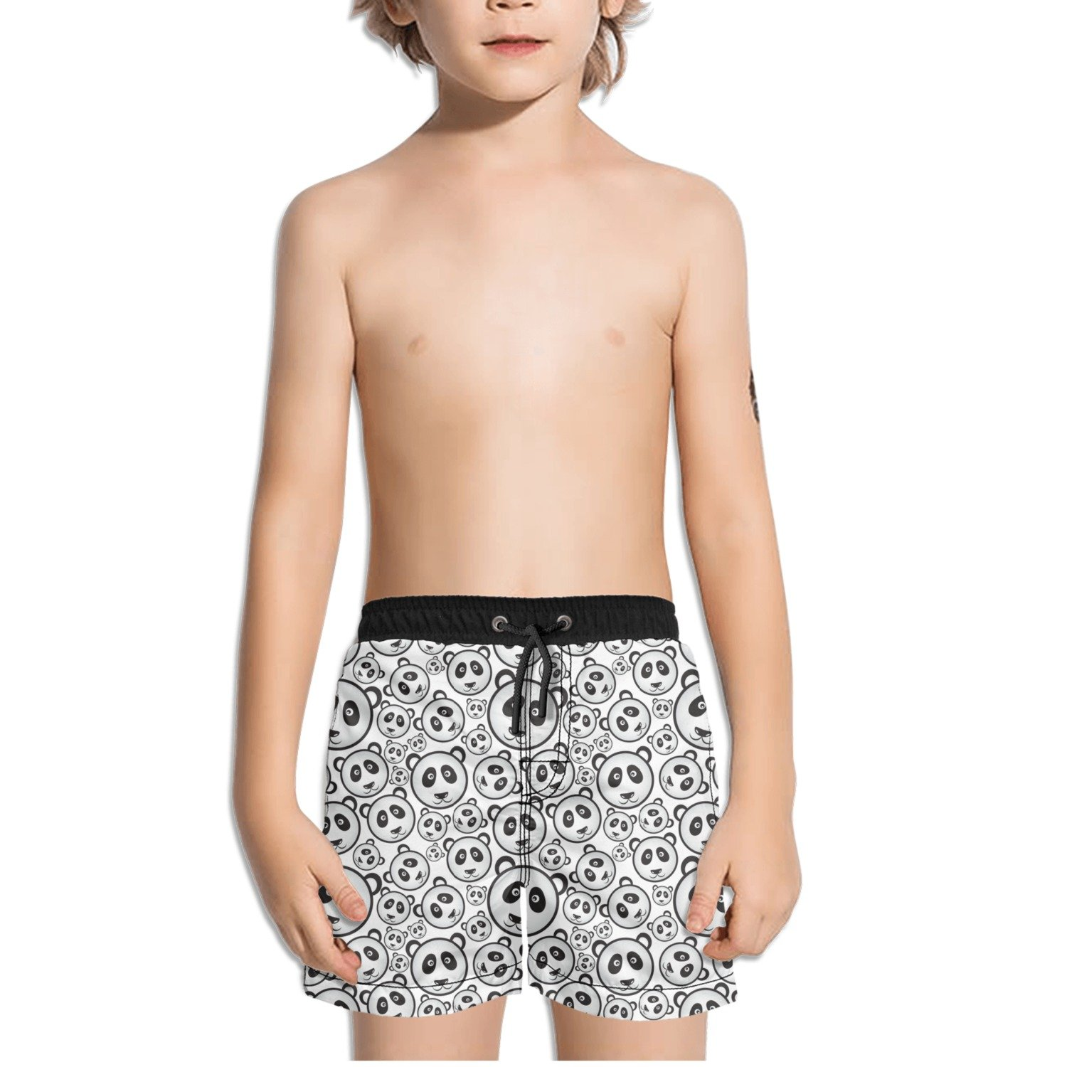 Black and White Panda Bear Head Toddler Little Boys Swim Trunks Quick Dry Water Beach Shorts Cool Sportwear with Pocket