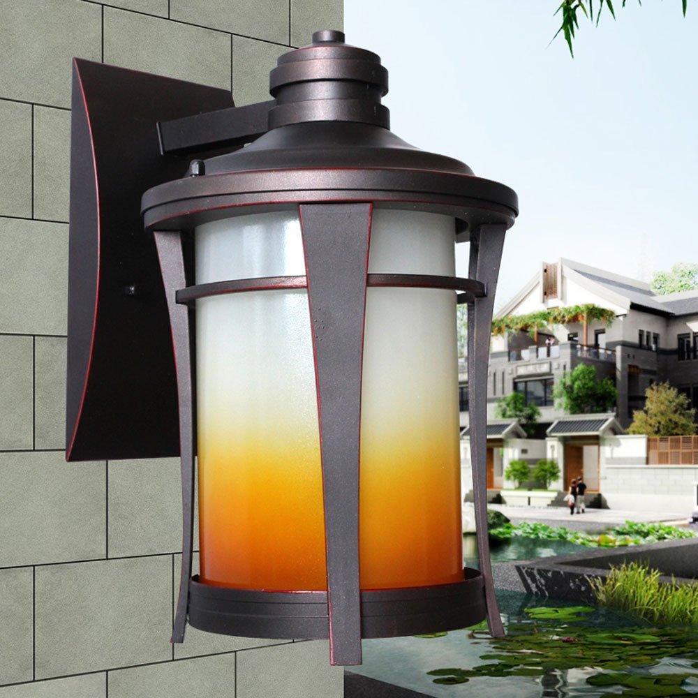 Hdmy Lampada da parete a paralume in vetro di colore sfumato Lampada da giardino a patio impermeabile da giardino impermeabile Lanterna creativa da balcone Corridoio