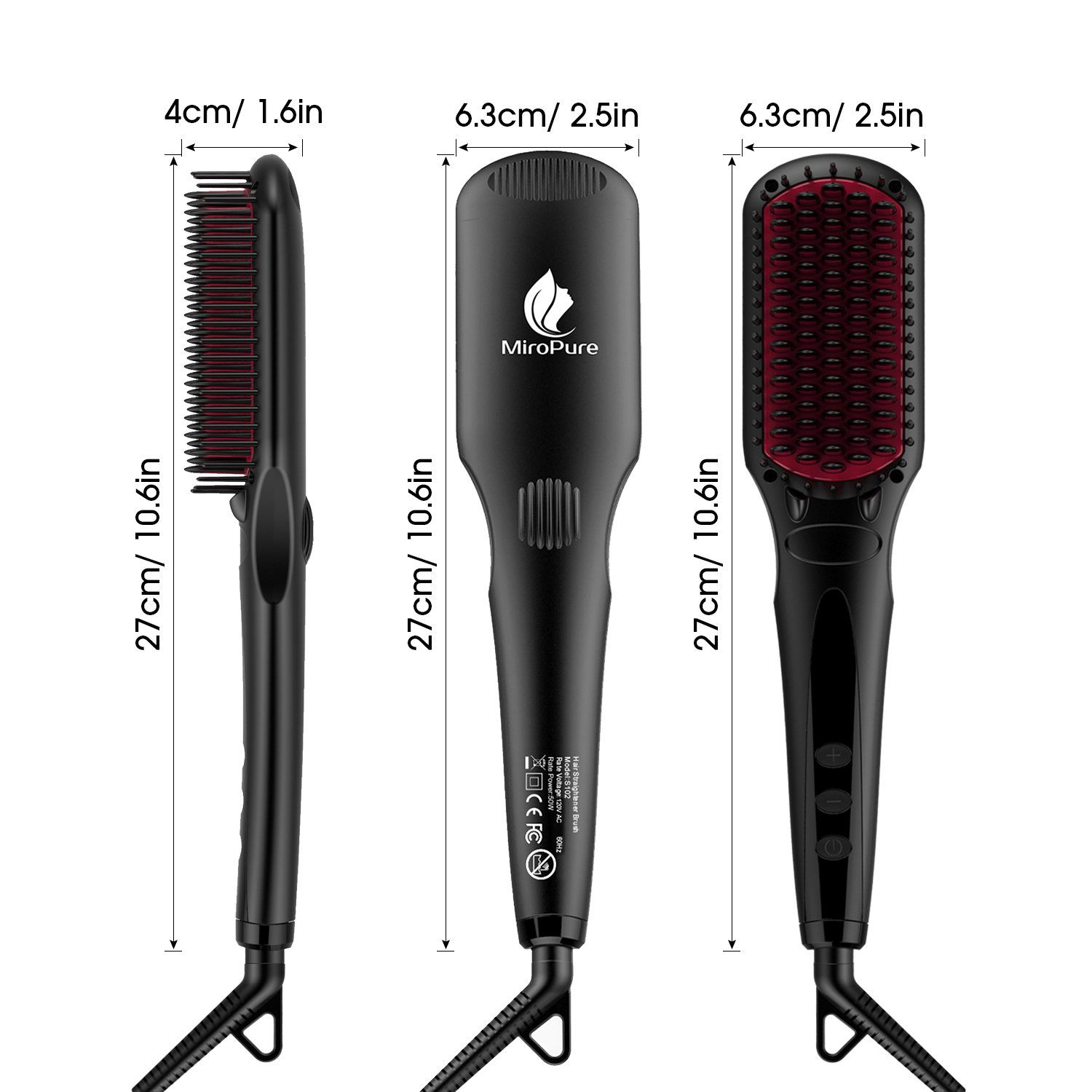 Enhanced Hair Straightener Brush by MiroPure, 2-in-1 Ionic Straightening Brush with Anti-Scald Feature, Auto Temperature Lock and Auto-off Function (Black) by MiroPure (Image #8)
