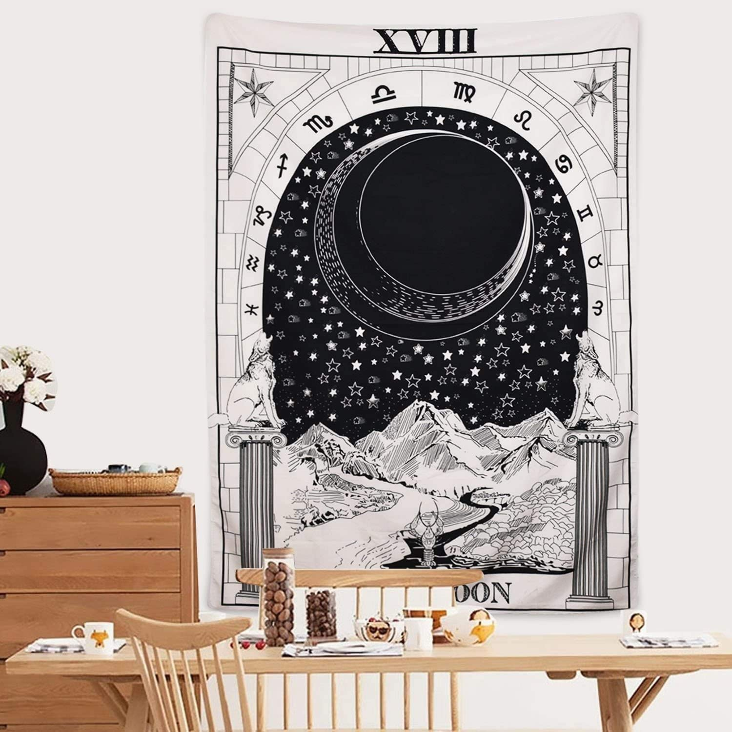The Moon The Star The Sun Tapestry Wall Hanging Medieval Europe Divination White and Black Wall Decor Small Black Moon Tarot Tapestry