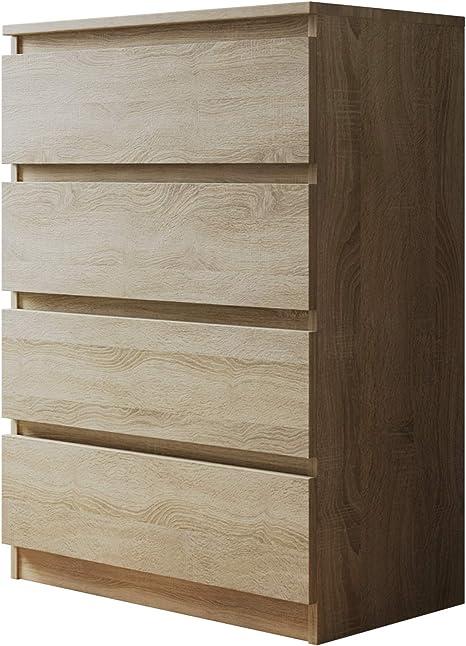 Mehrzweckschrank Sideboard Wohnzimmer Highboard Anrichte Kommode mit 4 Schubladen Malwa M4 Diele Esszimmer Flur Schwarz
