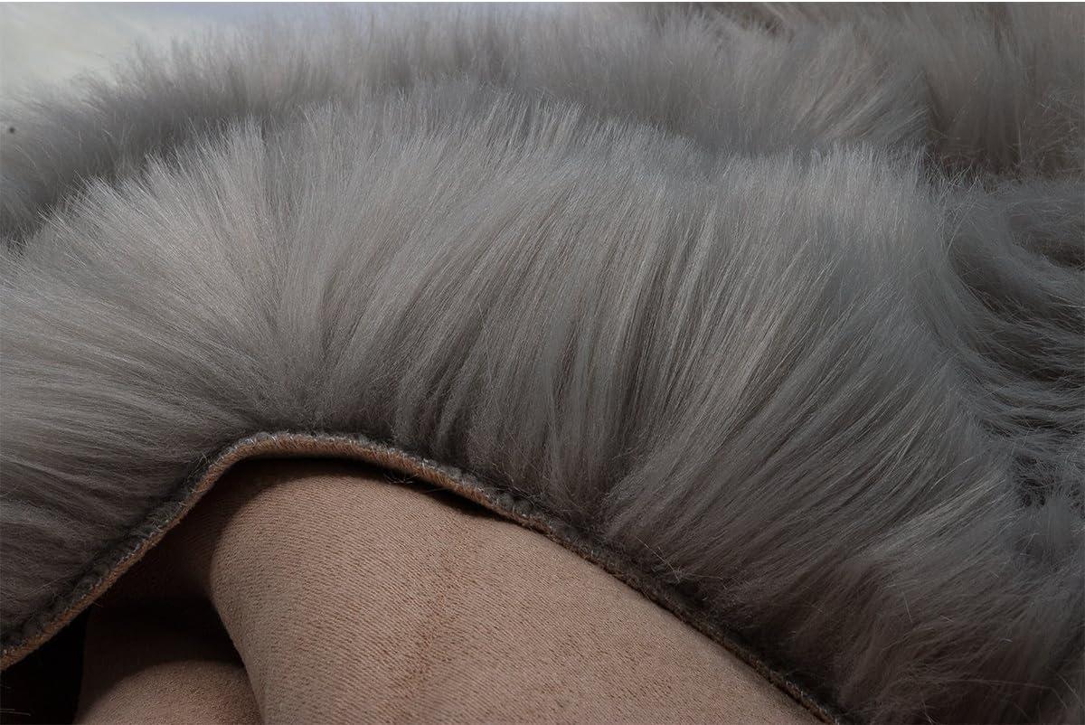 50 X 80 cm, Schwarz HLZDH Faux Lammfell Schaffell Teppich Kunstfell Dekofell in Super weich Lammfellimitat Teppich Longhair Fell Optik Nachahmung Wolle Bettvorleger Sofa Matte