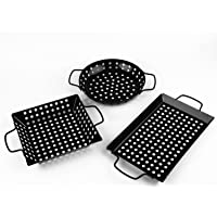 waykea Non-Stick Grill Basket with Handle BBQ Accessory Pan for Grilling Veggie, Fish, Shrimp, Meat, Camping Cookware