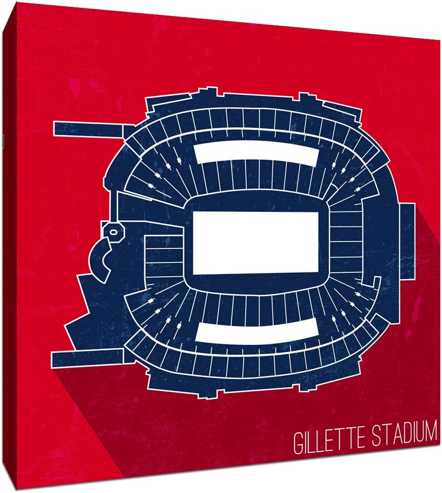 Gillette Stadium - Football Seating Map - 16x16 Gallery Wrapped Canvas Wall Art