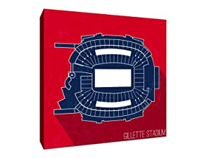 Gillette Stadium - Football Seating Map - 24x24 Gallery Wrapped Canvas Wall Art