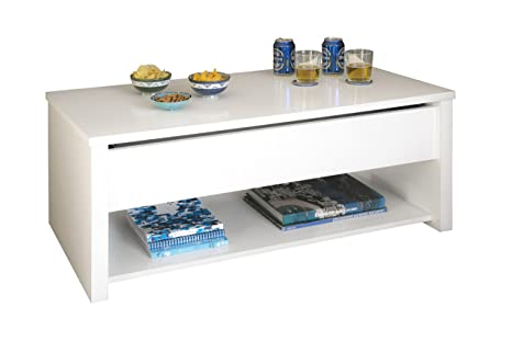 Mesa de centro elevable, color blanco para comedor o salon, alta calidad, 100x50x40