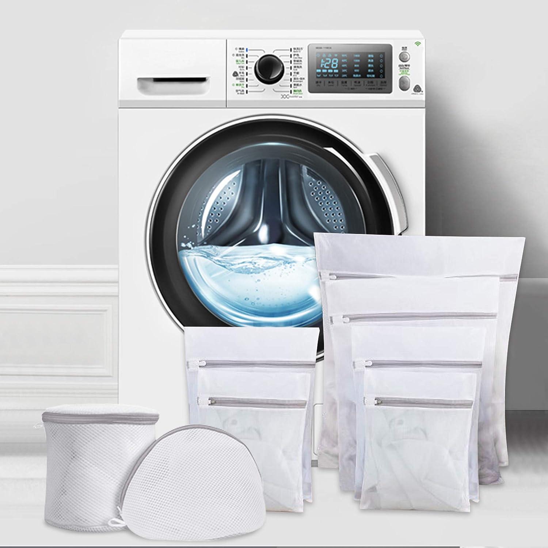 ipow 8 PCS Bolsa de lavandería con cremallera, 6 tamaños, Red de lavandería de malla fina para lavadora/secadora, ropa sucia, sujetadores, ropa interior, ropa de bebé, calcetines, etc