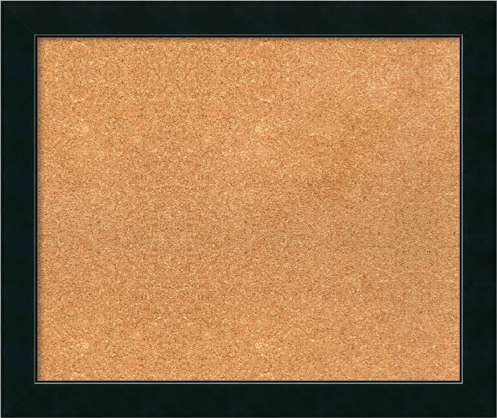 Amanti Art Choose Your Custom Size Natural Cork Corvino Narrow Black Framed Bulletin Boards, 25 x 21