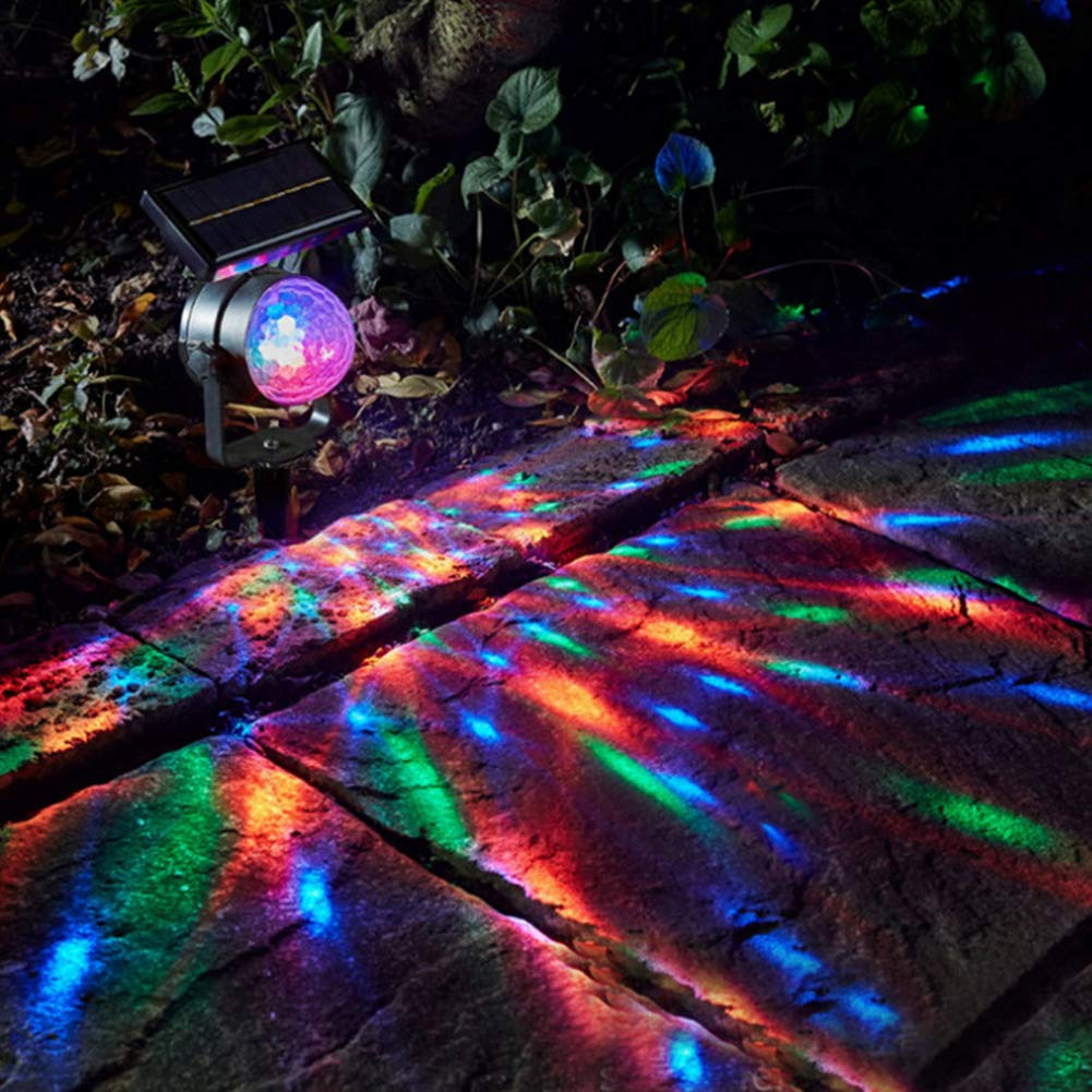 Black Shell Solar Projection Lamp Lawn Garden Carnival Projector Light Moving Colour Spotlight LED Light Shower