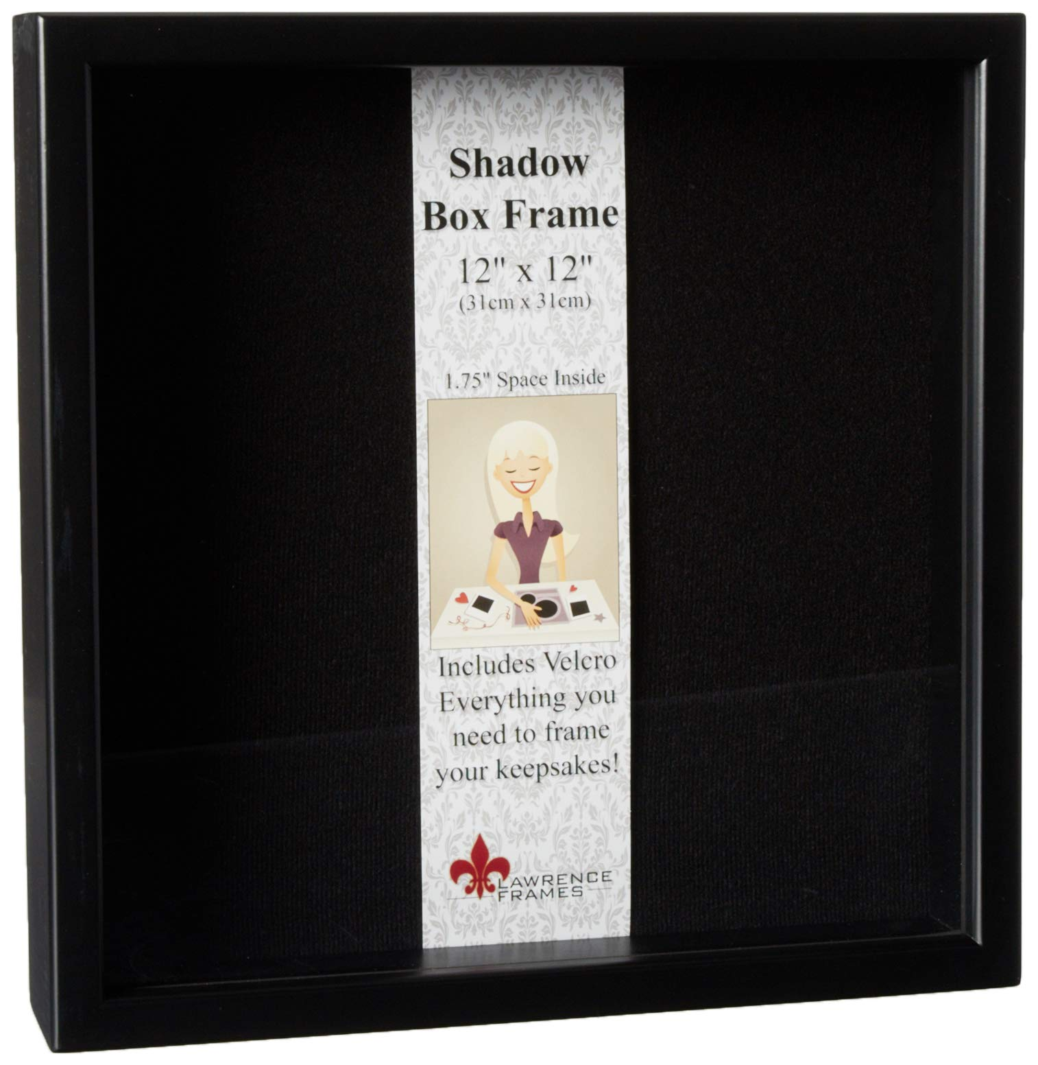 Lawrence Frames 790012 Black Wood Shadow Box Picture Frame, 12 by 12-Inch by Lawrence Frames