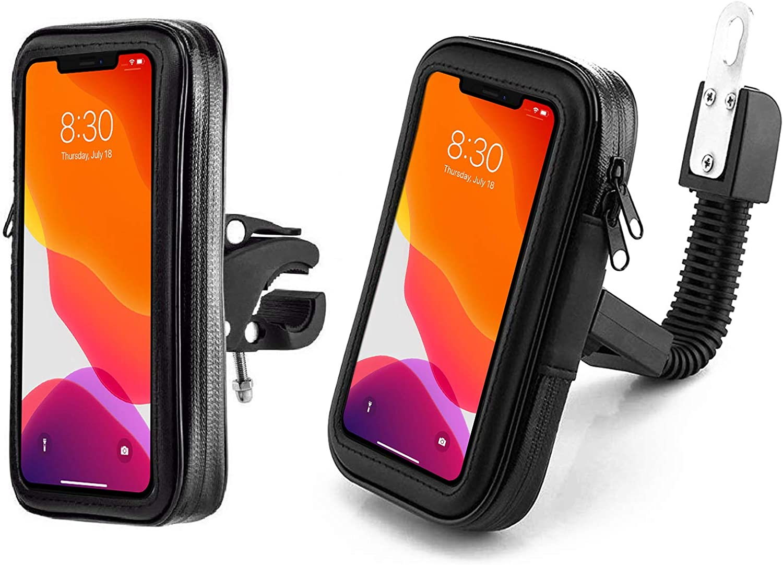 Antber Soporte movil Moto con sujeciones irrompibles a Espejo retrovisor y Manillar Funda Impermeable Universal Valida telefonos de hasta 6.5