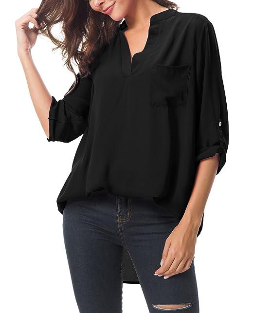 Urban GoCo Mujeres Casual Manga Larga Blusa de Gasa Cuello En V Dobladillo Irregular Camisas Tops