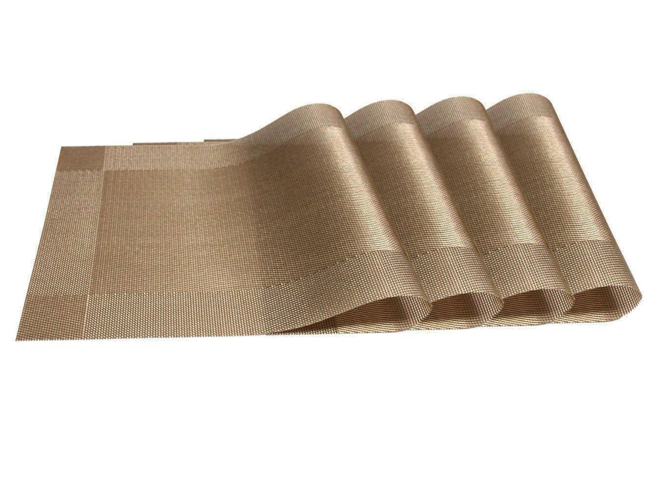 October Elf Table Mat Vintage PVC Washable Non-slip Insulation Placemat Mats Set of 4 Cream