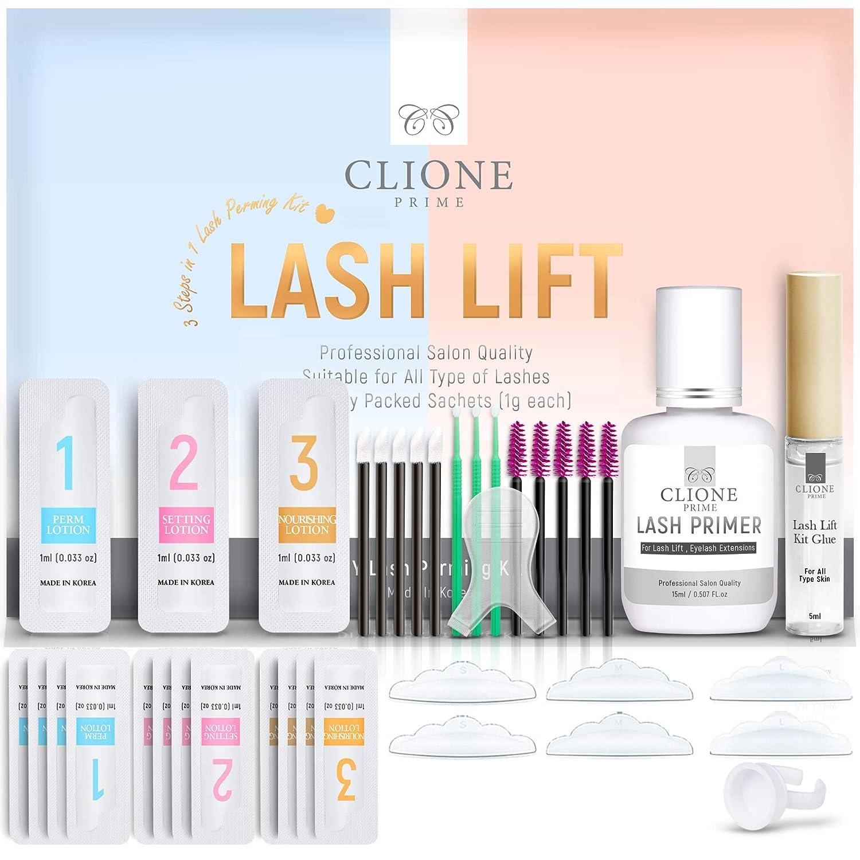 Clione Prime Lash Lift Kit - 38 Pcs Eyelash Lift Kit, 5 Times Use Eyelash Perm Kit, Suitable for Salon & Home Use - Professional Korean Semi Permanent Curling Perming Wave Kit