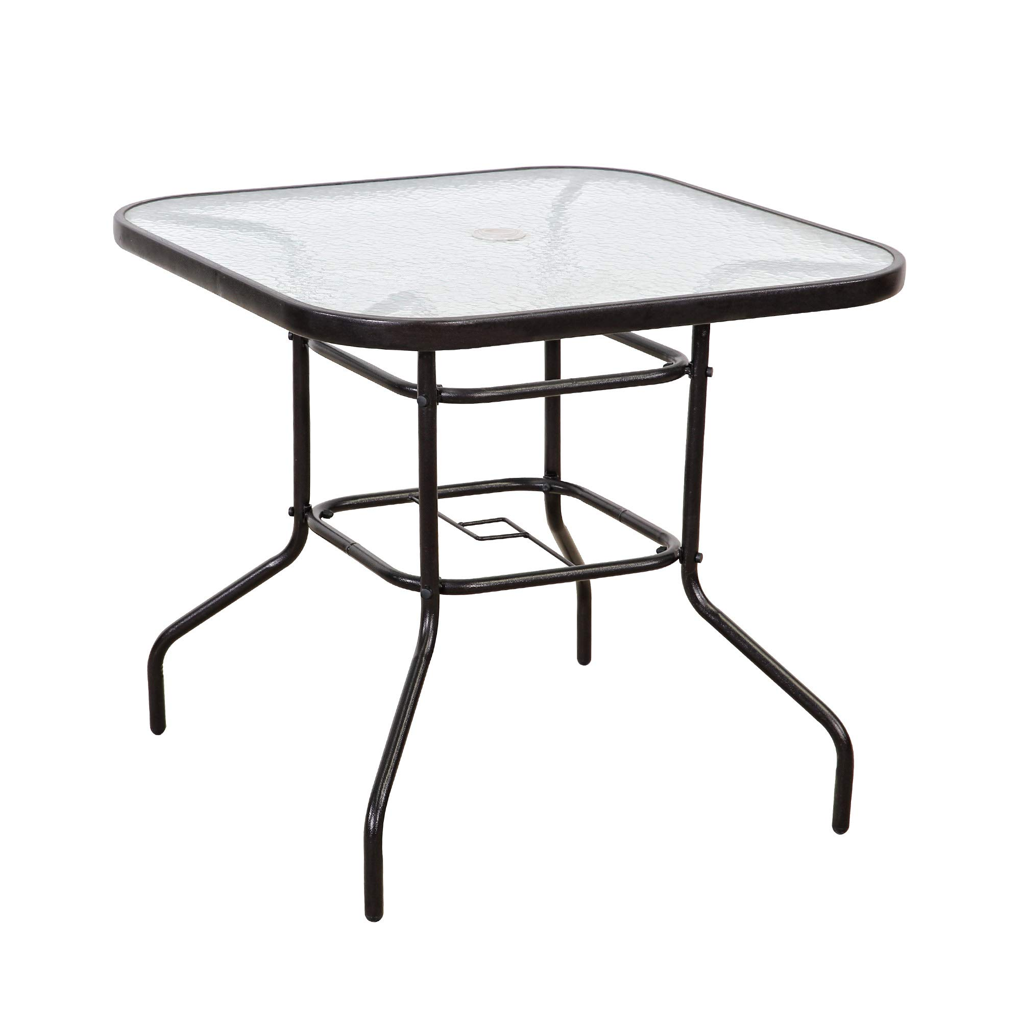 FurniTure Outdoor Patio Table Patio Tempered Glass Table 32'' Patio Dining Tables with Umbrella Hole Perfect Garden Deck Lawn SquareTable, Dark Chocolate