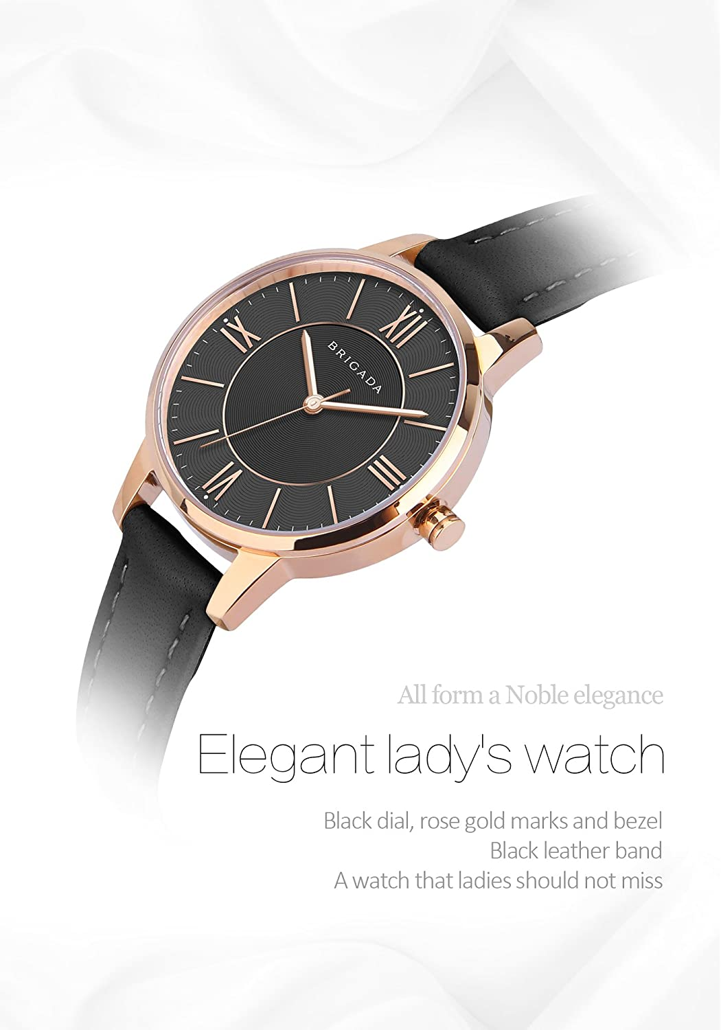 Amazon.com: Nice Fashion Elegant Rose Gold Black Ladies Watches, Swiss Brand Leather Band Japanese Movement Waterproof Dress Watch for Women on Sale: ...