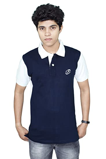 8e457b72f89e2c JigarZee Navy Blue Polo T-Shirt for Men | Solid T-Shirt | Men's Polo | Half  Sleeves | Semi-Formal Look | Neck & Sleeves Contrast Color | Plain T-Shirt  ...