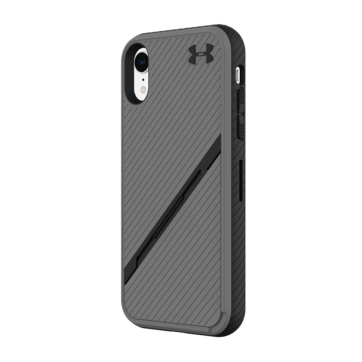 Under Armour Phone Case | for Apple iPhone XR | Under Armour UA Protect Kickstash Case with Rugged Design and Drop Protection - Graphite/Black