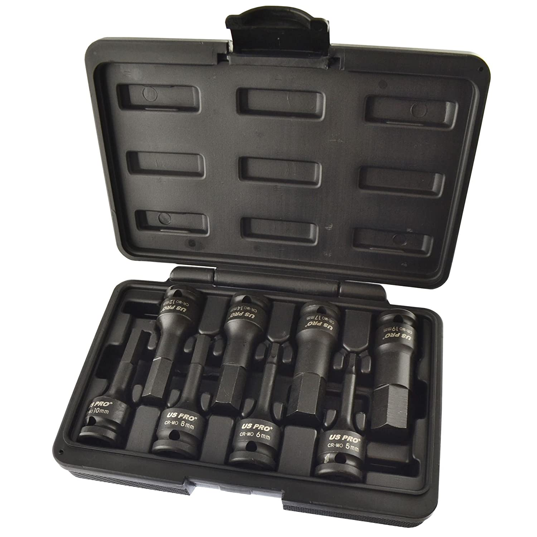 1/2' Drive Allen / hex key bit impact socket set H5 - H19 Metric Deep AT772 AB Tools