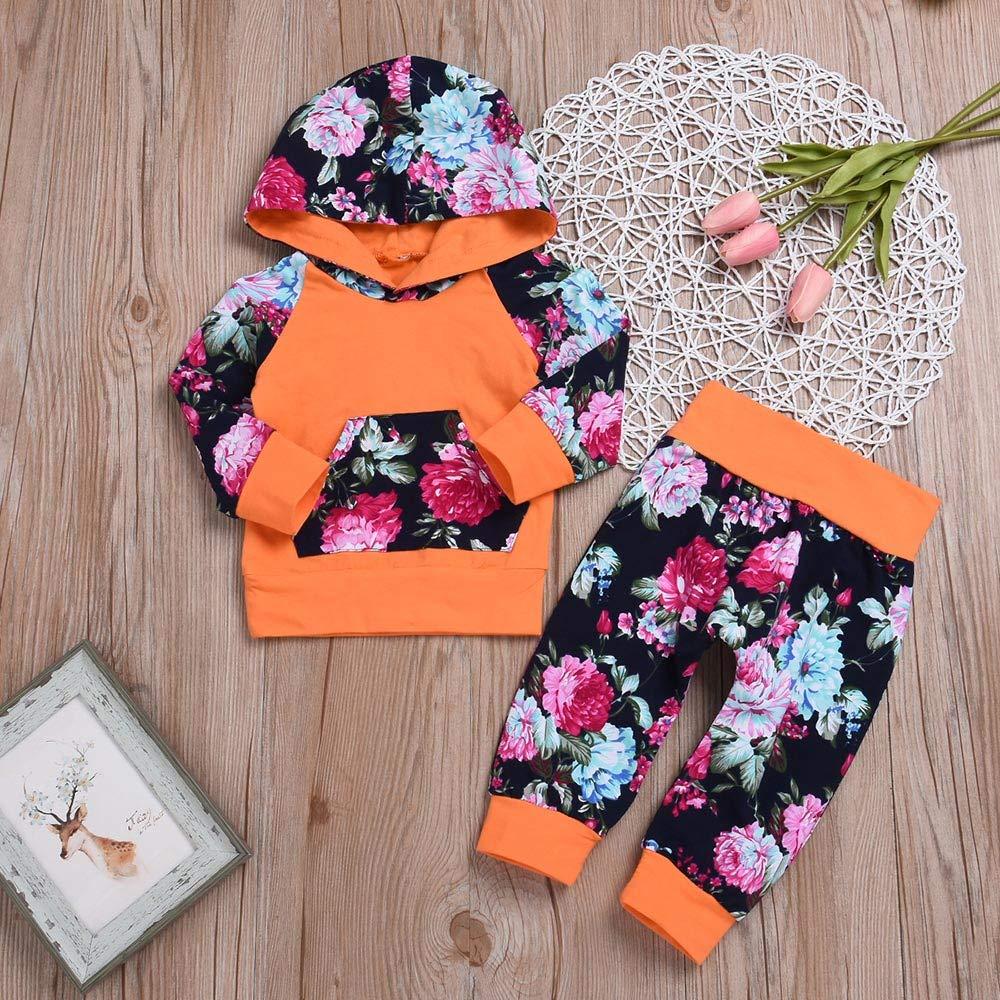 ❤ Sudadera con Capucha para niños Printing.2PCS Bebé niña de Manga Larga con Estampado Floral con Capucha Top Clothes + Pants Set Outfit Absolute: ...