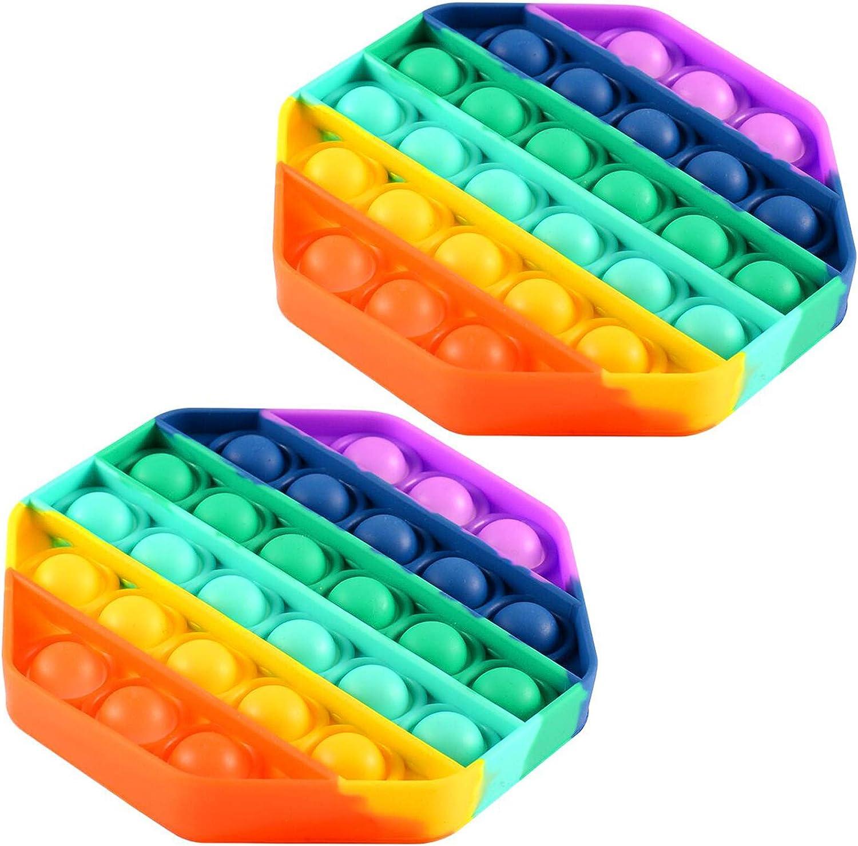 FOHYLOY Push Pop Bubble Sensor Fidget Toy, Alivio del estrés Necesidades Especiales Aula silenciosa para niños Adultos Alivio para Dedos, Autismo Alivio del estrés Juguetes (Octágono Colorido)