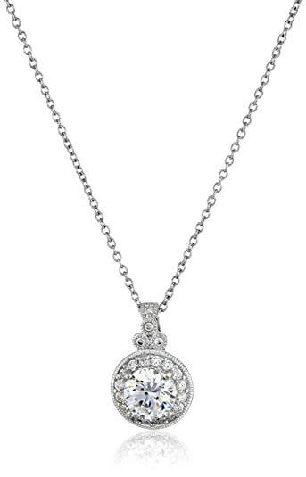 Amazon platinum plated sterling silver antique pendant necklace amazon platinum plated sterling silver antique pendant necklace set with fancy blue round cut swarovski zirconia 178 cttw jewelry aloadofball Gallery