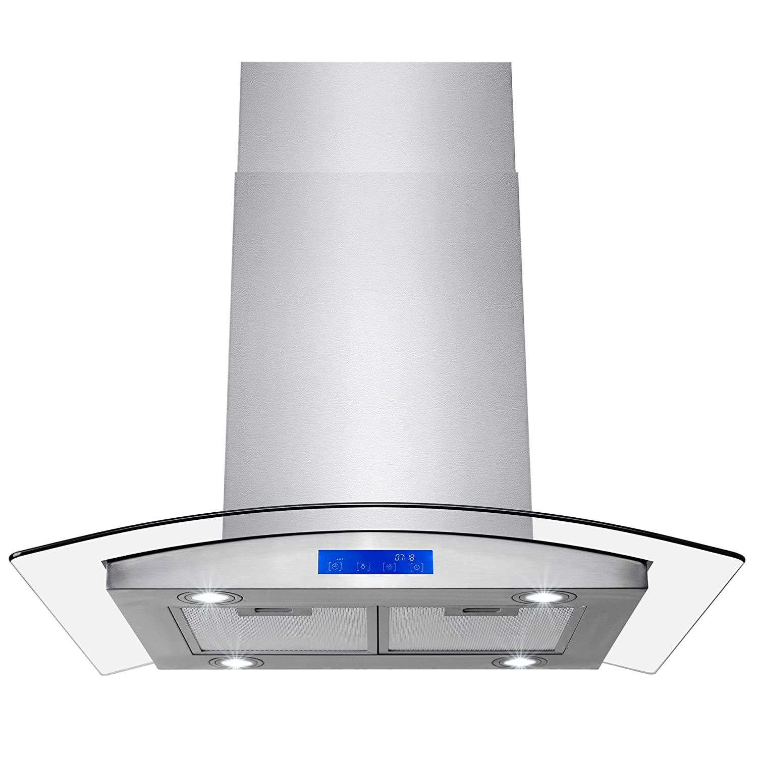 """FIREBIRD 30"""" Stainless Steel Tempered Glass LED Display Touch Control Panel Island Mount Kitchen Vent Cooking Fan Range Hood"""