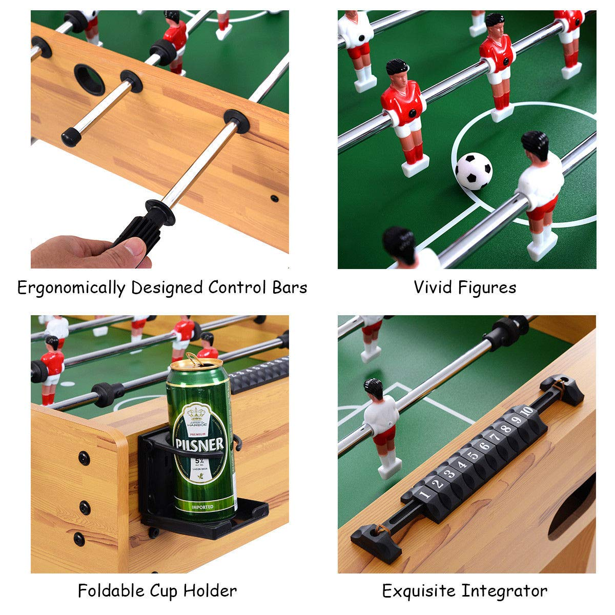 Giantex Foosball Soccer Table 48'' Competition Sized Arcade Game Room Hockey Family Sport by Giantex (Image #6)