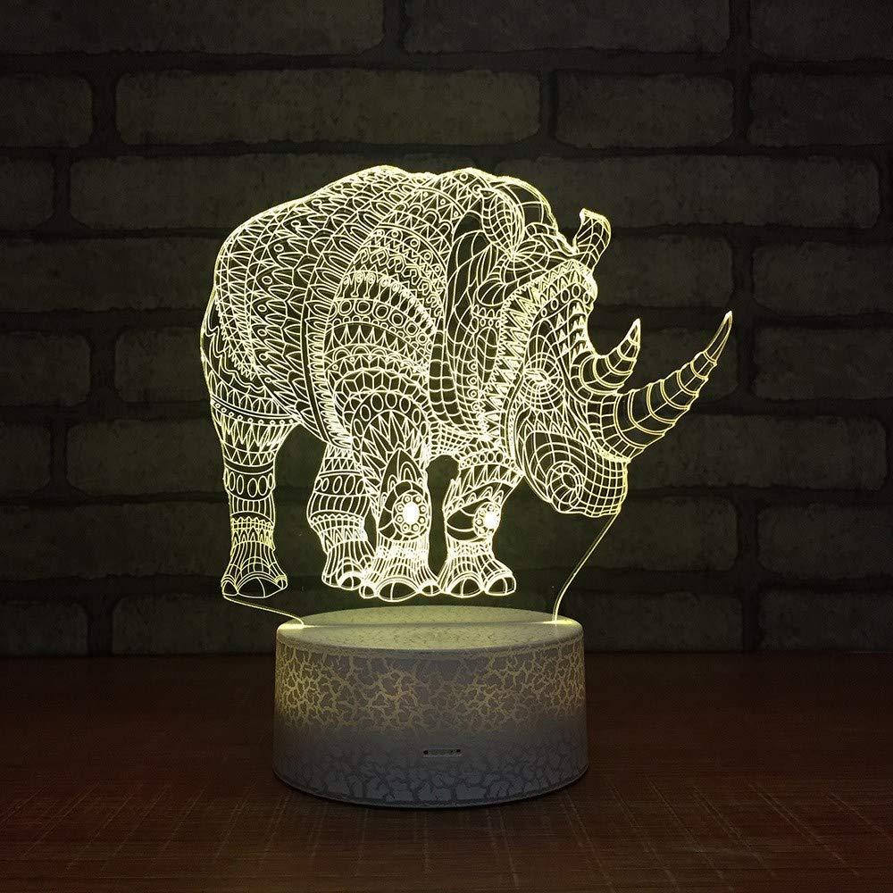 3 PACK, 3D optische Illusion Nachtlicht Rhino LED Tisch Schreibtischlampe 7 Farbe automatisch wechselnden USB-Ladegerät Powerotfor Baby Schlafzimmer Dekoration Kinder Geschenk
