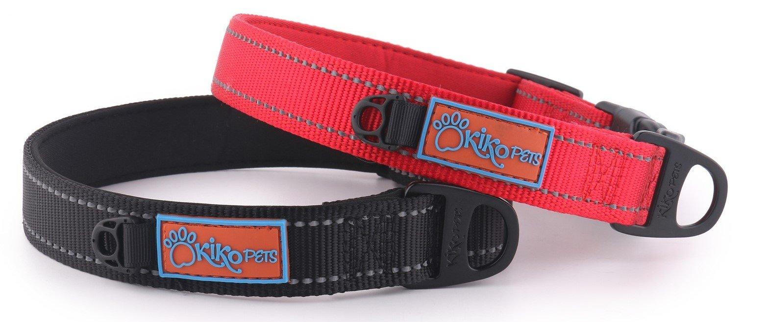 Kiko Pets X- Small Black Collar made with Neoprene extra Padded Dog Collar, Reflective Stitching, ID Dog Holder