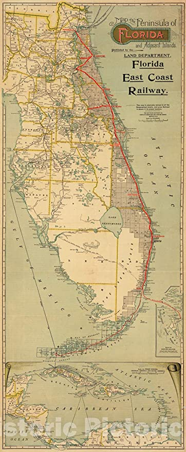 Amazon.com: Historic Map - Map of the Peninsula of Florida ...