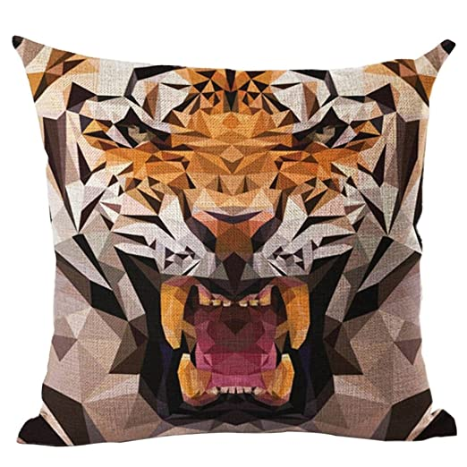 Academyus Tiger Dog Animal Oil Painting Style Cushion Cover Decorative Throw Pillow Case (6#)