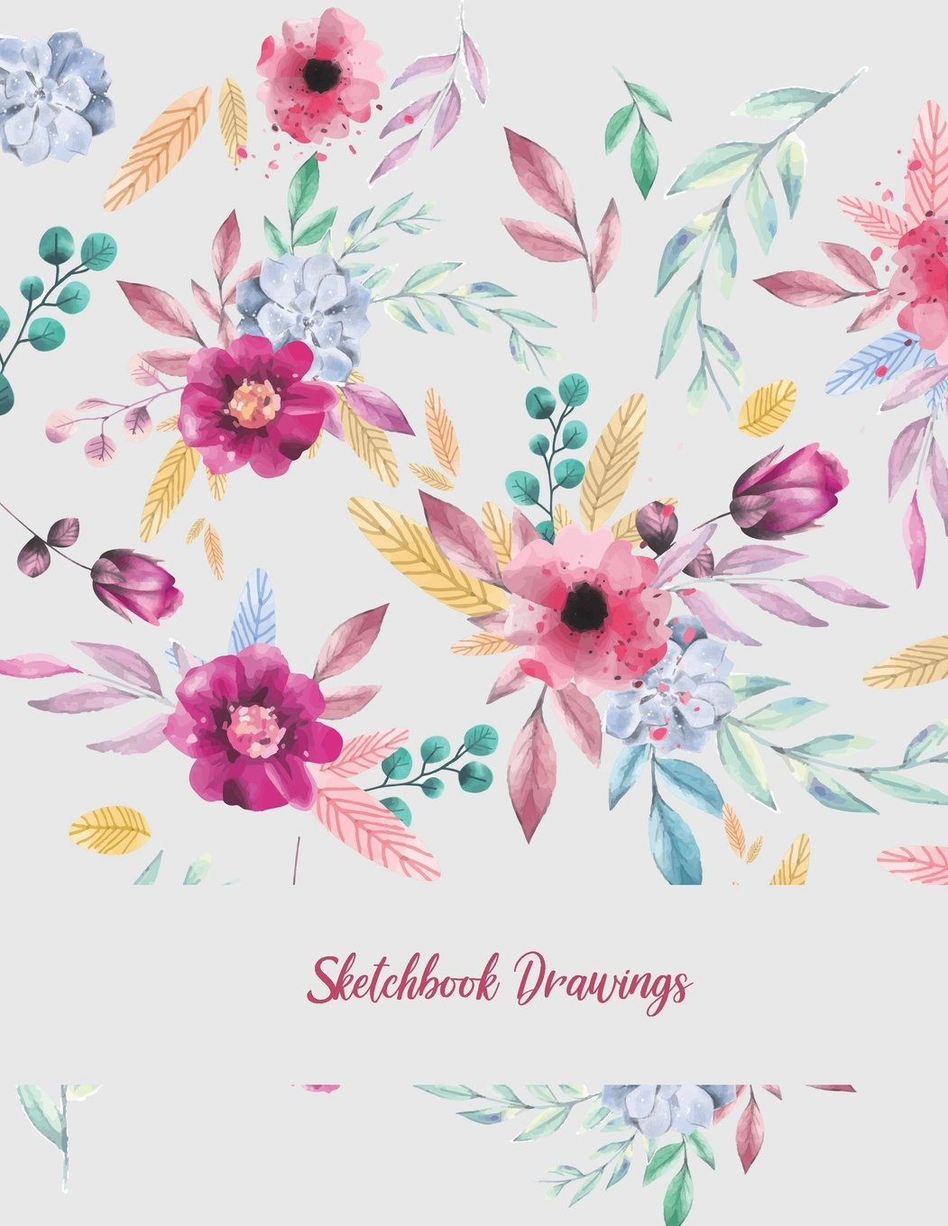Sketchbook Drawings Beauty Pink Floral Blank Paper For Drawing And