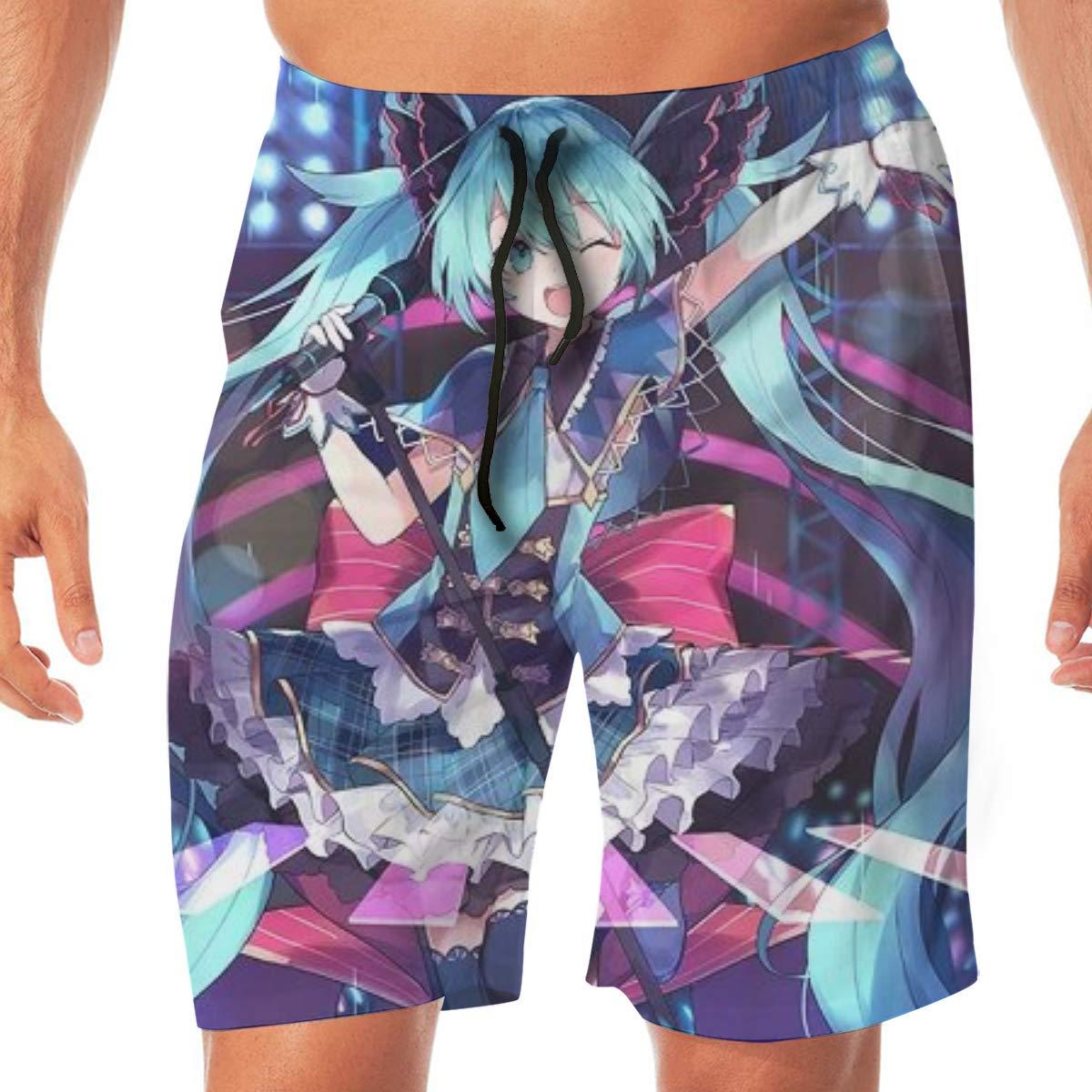 FANGHUABATHRHSQ Sing Hatsune-Miku 3D Printed Men Board Beach Shorts Hawaii Swimwear Pants Boardshort Swim Trunk Bathing Suits