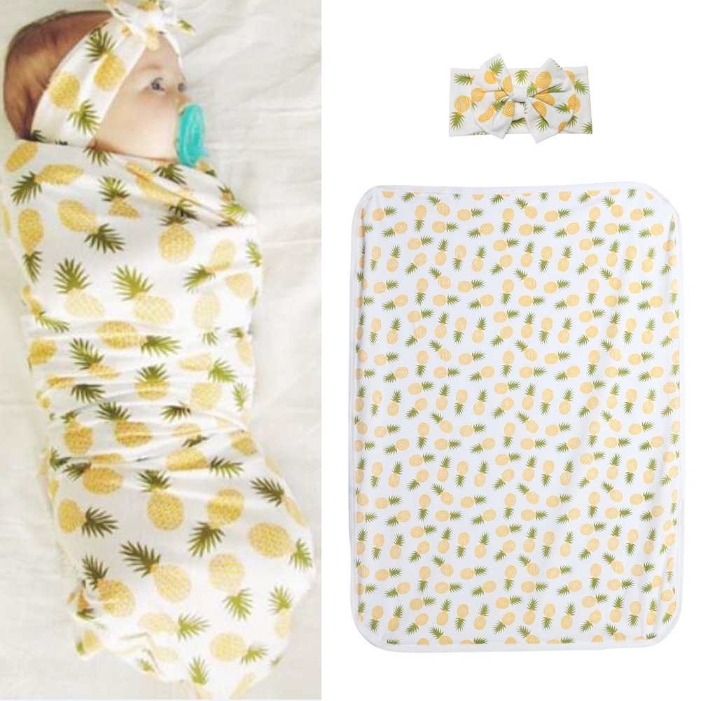Diamondo 2pcs Baby Infant Swaddle Wrap Blanket Pineapple Print Sleeping Bag Headband