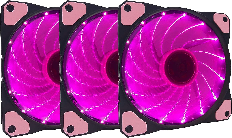 APEVIA AF312L-SPK 120mm Pink LED Ultra Silent Case Fan w/ 15 LEDs & Anti-Vibration Rubber Pads (3-pk)