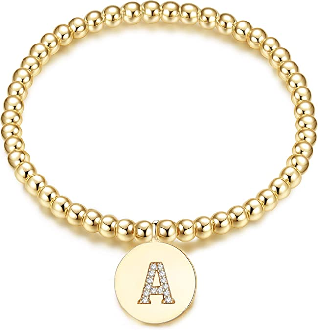 Silver or Rose Gold Plated Personalized Initial Bracelet \u2013 Add Up to 3 Initial Charms \u2013 In Gold