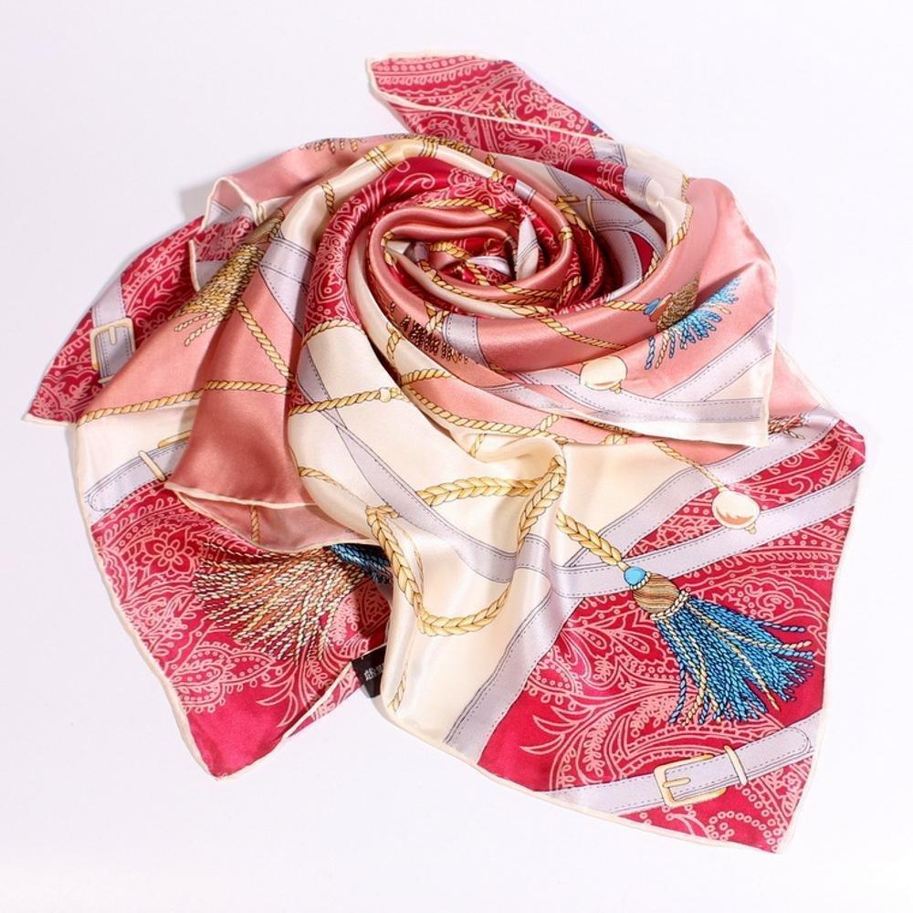B Hjyi Women's Silk Scarf Ladies Small Square Towel Bag