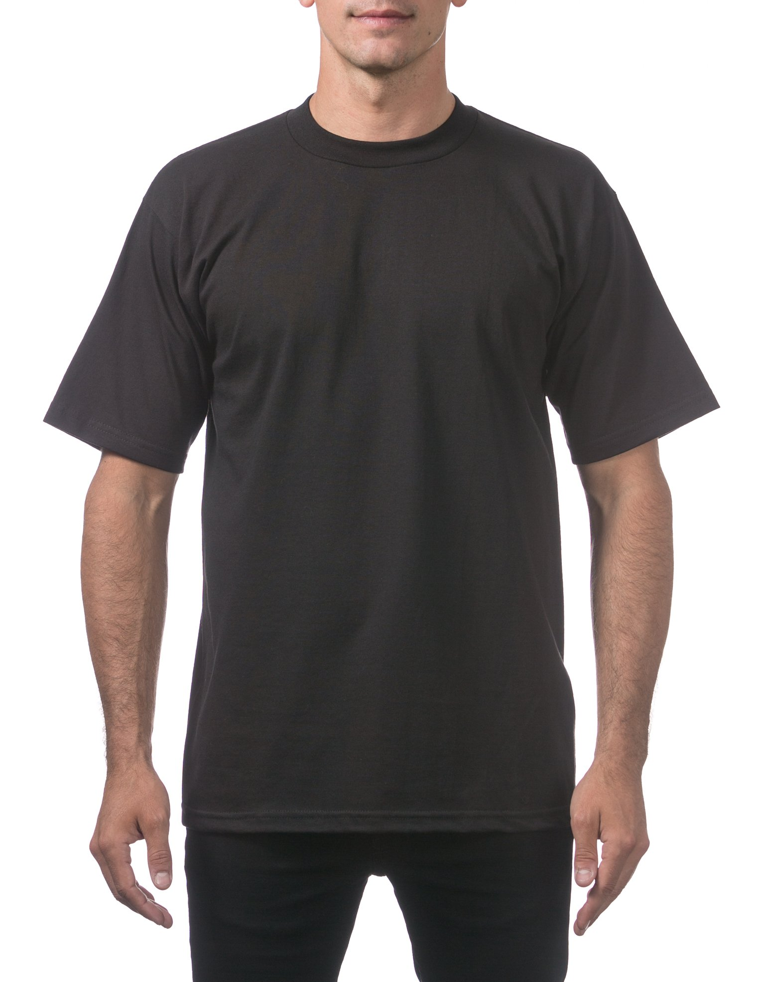 Pro Club Men's Heavyweight Cotton Short Sleeve Crew Neck T-Shirt, 2X-Large, Black