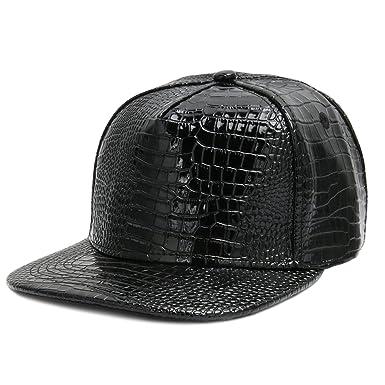 d3984a1d CUSFULL PU Leather Baseball Cap Adjustable Metallic Flat Snapback Hats for  Men and Women (Black): Amazon.co.uk: Clothing