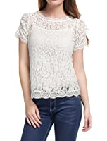 Allegra K Women's Scalloped Trim Short Shirred Sleeves Sheer Floral Lace Top