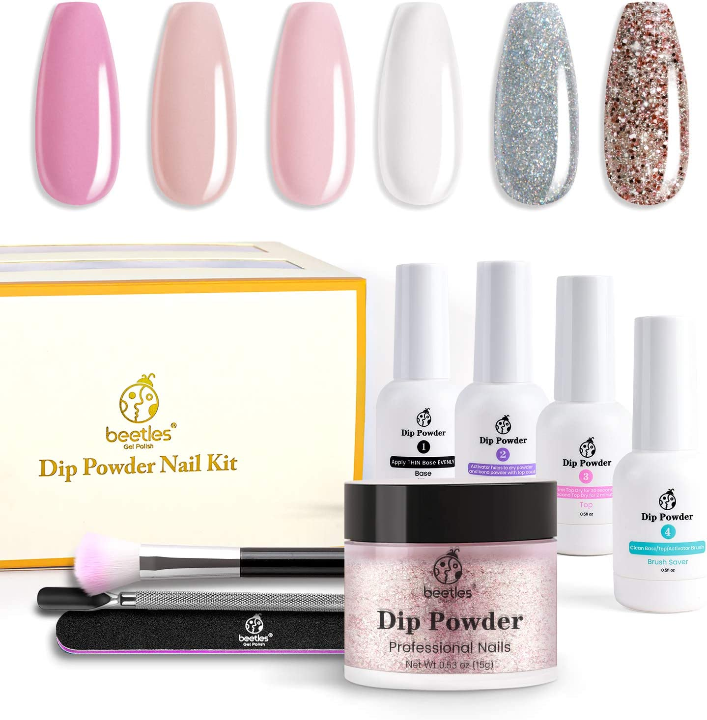 Beetles Dip Powder Nail Starter Kit 6 Colors French Tips Kit, Acrylic Dipping Powder System Starter Nail Kit for French Nail Manicure Nail Art Set Essential Kit, No UV/LED Lamp Needed, 0.53 fl.Oz/each
