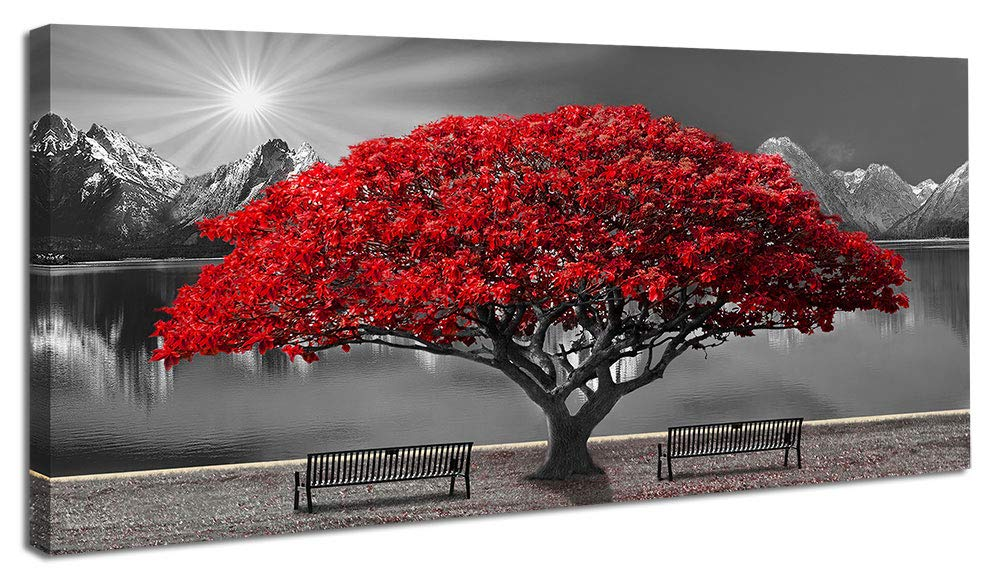 Black and White Red Tree Wall Art Canvas Print Picture Large Red Tree Landscape Modern Artwork for Living Room Bedroom Office Home Wall Decoration Decor with Frame 20x40in